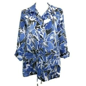 Samantha Grey Shirt Floral Blue Size 14 Jacket